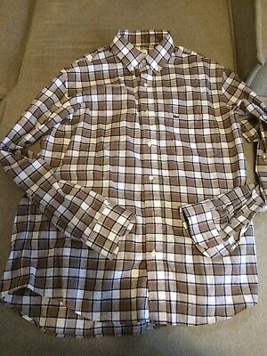 Lacoste Button Down Shirt Long Sleeve Size 42 Large Plaid Gray blue white