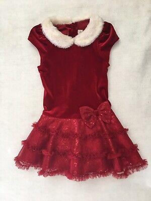 GIRLS TODDLERS SIZE 3T JONA MICHELLE RED VELVET DRESS Christmas Fur EUC