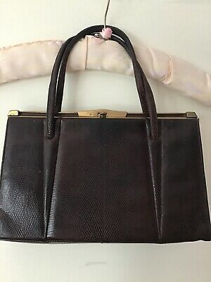 Vintage Lizard Frame Handbag Kelly Bag