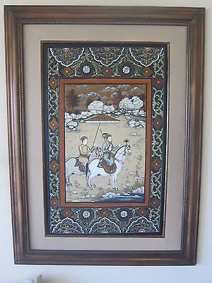 Beautiful Asian Antique chinese handpainted detailed painting on silk 34 X 46 in