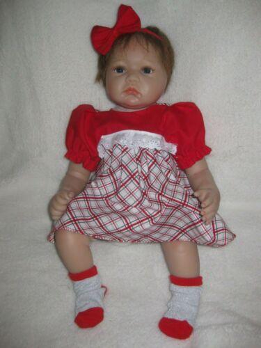 20-22 inch Reborn doll clothes/red/plaid dress/headband/socks