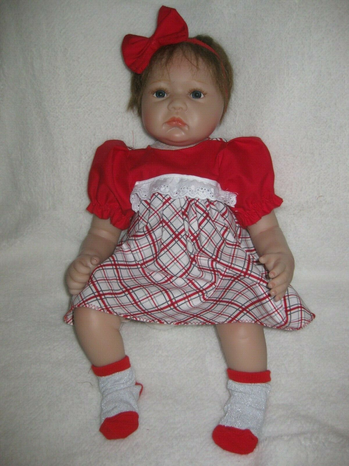 Купить 20-22 inch Reborn doll clothes/red/plaid dress/headband/socks