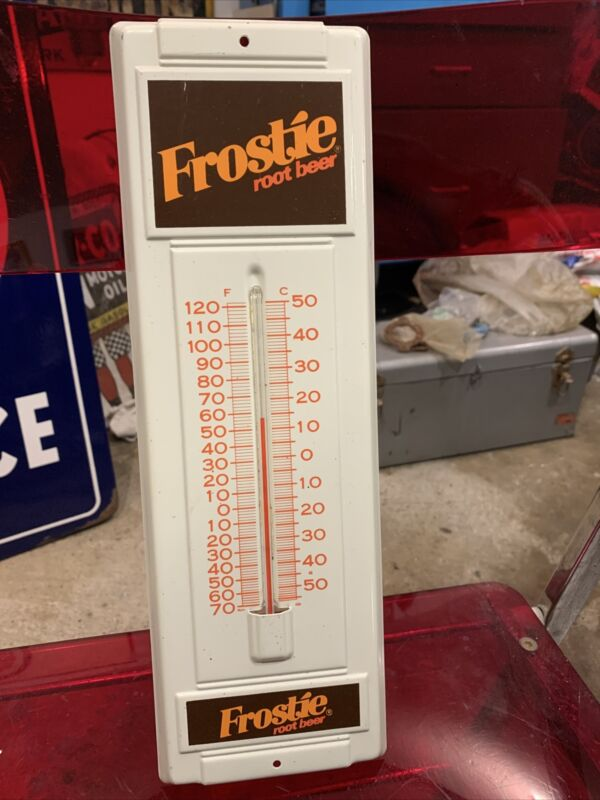 Old Original Metal Frostie Root Beer Sign Thermometer Rare Soda Pop Advertising