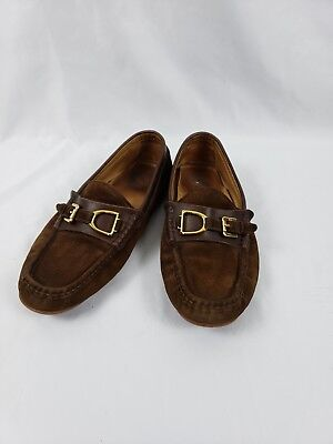 $499 Ralph Lauren Italy suede moccasins brown driving shoes slippers 9D