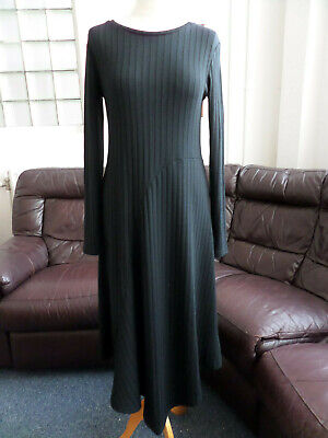 b.young Black Plain Rib Long-Sleeved Long Maxi Dress Size Small UK 10
