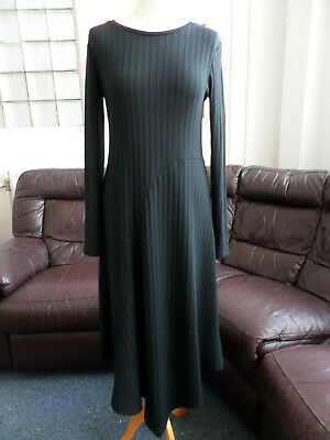 b.young Black Plain Rib Long-Sleeved Long Maxi Dress Size Small UK 8