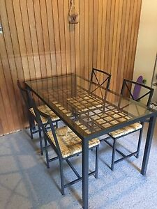 IKEA Glass and Steel Made Dining Table with 4 Chairs Lane Cove North Lane Cove Area Preview