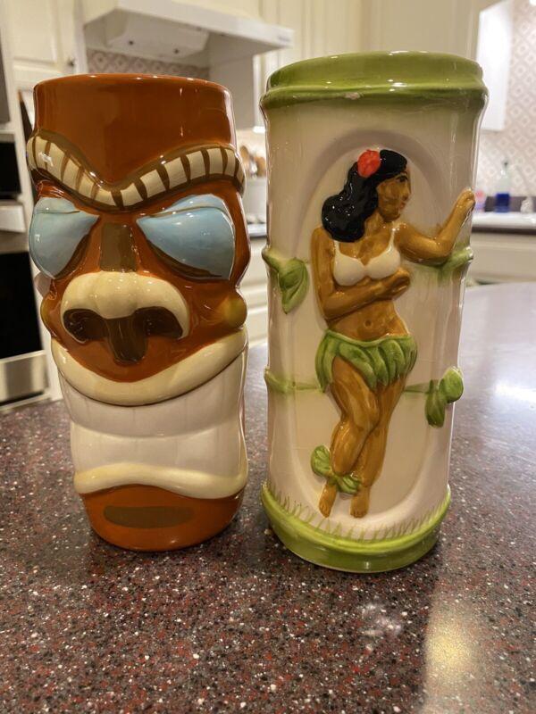 2 pc Tiki's Grill & Bar Waikiki TRE LANI Hula Girl MUG & Tiki  Cup Vase vintage