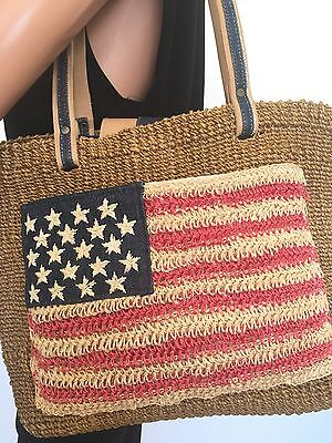 Amanda Smith Sisal Bag American USA Flag Designer Fashion Boho Chic