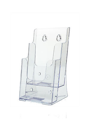 Clear Acrylic 2 Pocket 4w Brochure Holder Wall Or Counter Lot Of 12