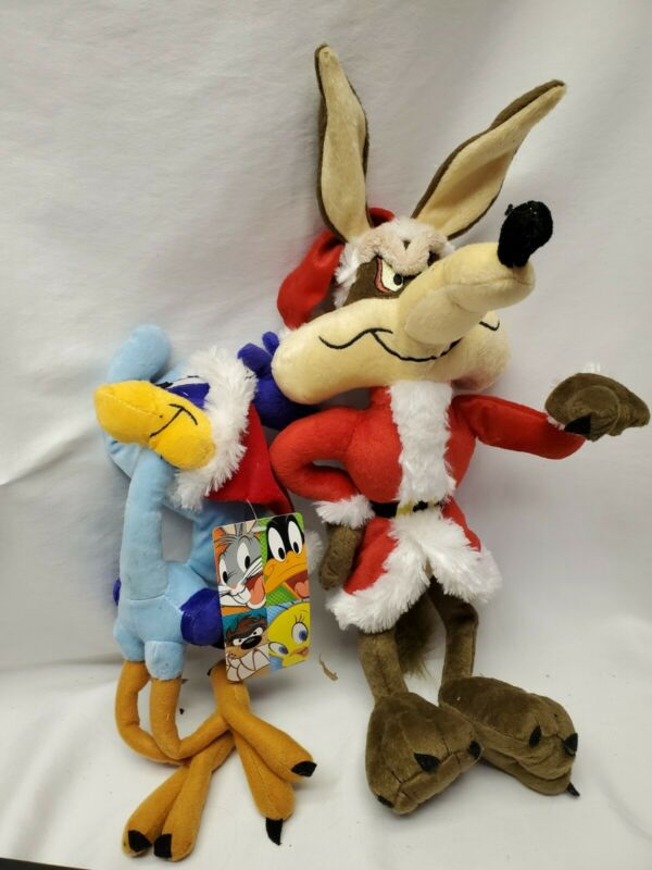 "Vintage Looney Tunes Road Runner Plush Toy 14"" AND COYOTE Christmas"
