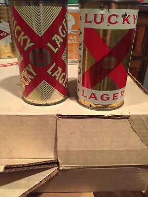 2 Lucky Lager Flat Top Cans -