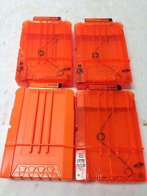Lot Of 4 Nerf Dart Gun 6 Round Ammo Magazine Clip N-Strike