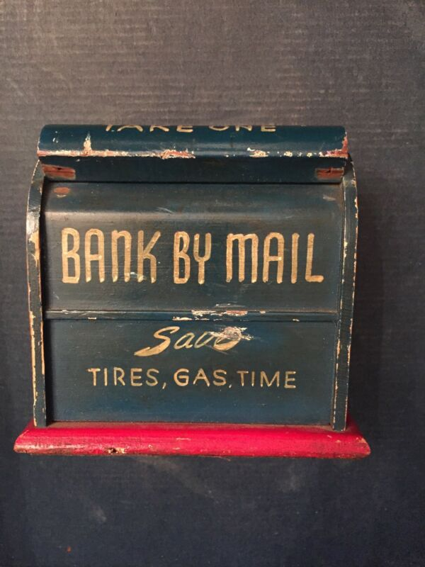 Handmade Antique Bank By Mail - Wood Envelopes Holder Made to look like Mailbox
