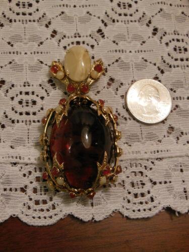 Big Bold Beautiful Steampunk Retro Pin Brooch Pendant Semi-Precious Stones Gift