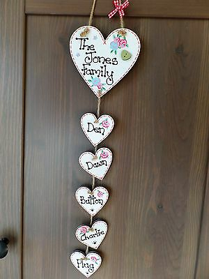 - Personalised Our Family Name Plaque Handmade Hanging Heart Gift Home Shabby Sign