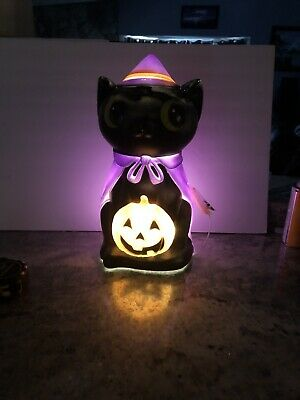 """17"""" LED Black Cat Witch Blowmold Halloween Lighted Outdoor Pumpkin JOL Cape"""