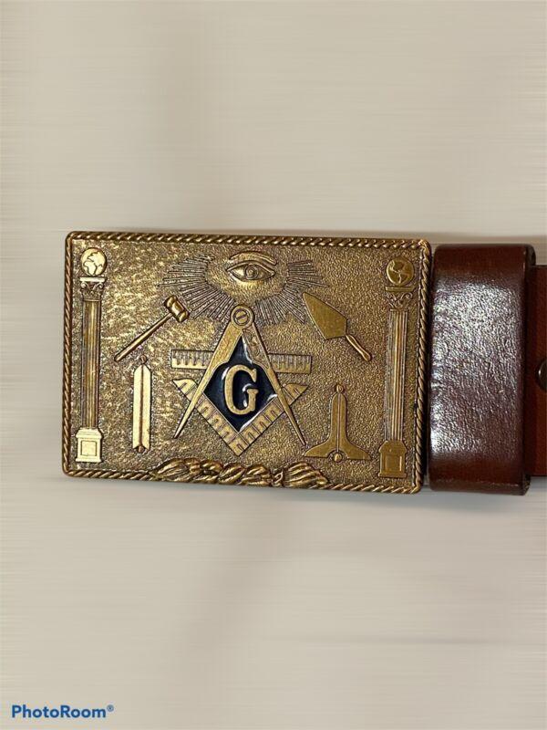 Masonic Freemason Vintage  Belt Buckle And Leather Belt Sz 38