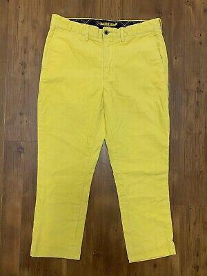 Rugby Ralph Lauren 32 x 25 HEMMED SHORT Mens Thick Corduroy Pants Yellow