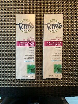 Maine Whitening Zahnpasta (Tom's of Maine Antiplaque Whitening, Fluoride-Free Toothpaste, Peppermint 2 Pack)