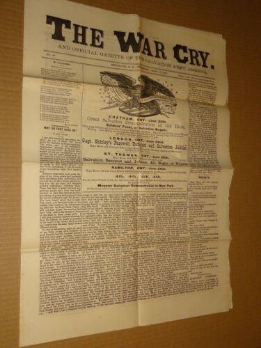 1883 Salvation Army War Cry Newspaper June 21