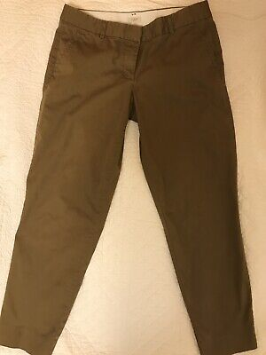 J. CREW City Fit Pants Stretch Womens 10 Tall Khaki Olive Brown Chino Style