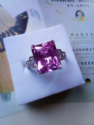Art Deco Vintage 925 Sterling Silver rose quartz White Sapphire princess Ring P