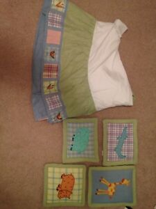 Baby room crib skirt and wall hangings