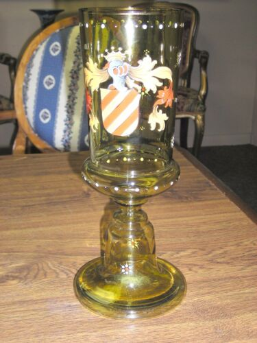 Antique Bohemian Green Glass Armorial Pokal Cup W/Letter of Provenance