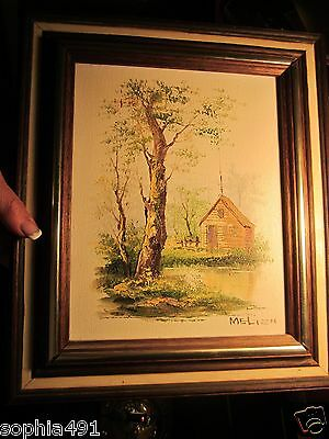 Vtg Estate Original Oil Painting Cabin in the Woods signed by Artist Melion - Painting Cabin In The Woods