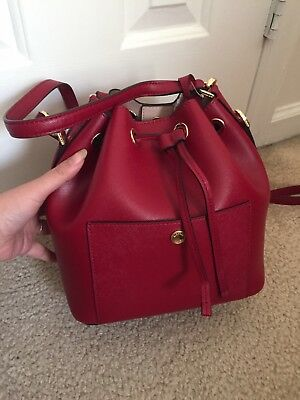 michael kors greenwich Small Bucket Bag Cherry Red (Small Red Buckets)