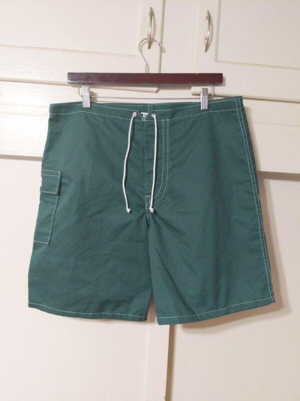 Kanvas by Katin Vintage Retro Green Canvas Board Shorts Surf Swim 60s 70s sz 36