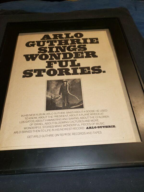 Arlo Guthrie  Rare Original 1974 Promo Poster Ad Framed!