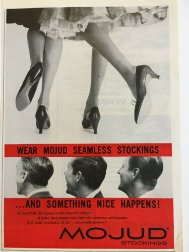 1956 Mojud Seamless Nylon Stockings Vintage Print Ad~Everybody notices! 1950s