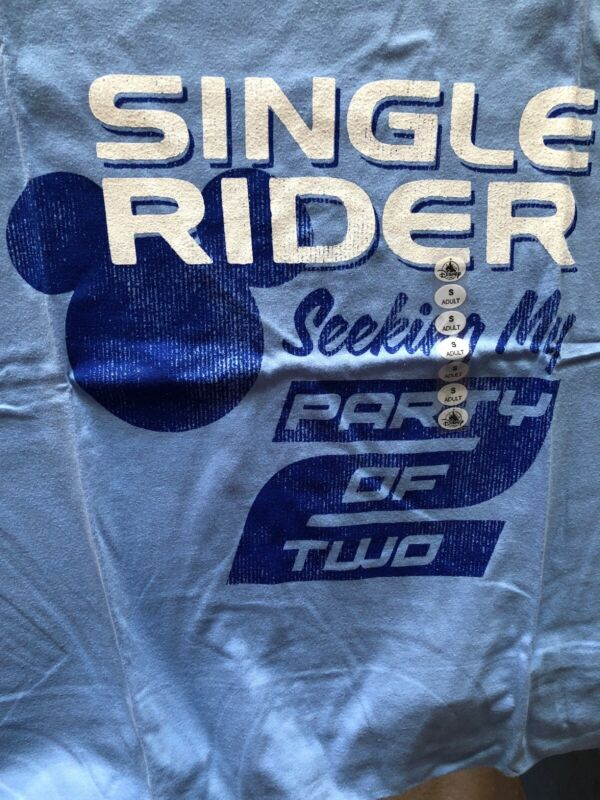 Disney Parks Exclusive Single Rider Seeking My Party Of Two T-Shirt Adult S New