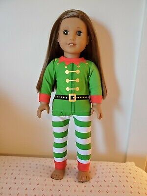Christmas 2 piece Elf Costume fits 18 inch American Girl Doll Clothes Pajamas PJ