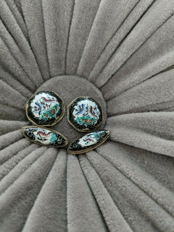Antique Persian Hand Painted Enamel Cufflinks Birds & Flowers on White and Blue