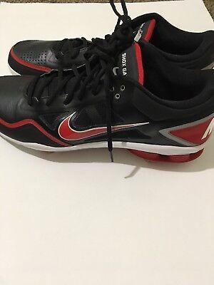half off 50e2f f58b7 Nike Shox Gamer Mens Low Metal Baseball Cleats Size 16 Black Red Gray NEW