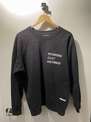 Satisfy Running Cult Moth Eaten Crew Neck Sweatshirt Washed Black Size 3 Large