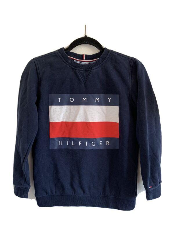 Tommy Hilfiger Girls Kids Logo Pullover Sweatshirt Large 12/14 Navy Blue Kids
