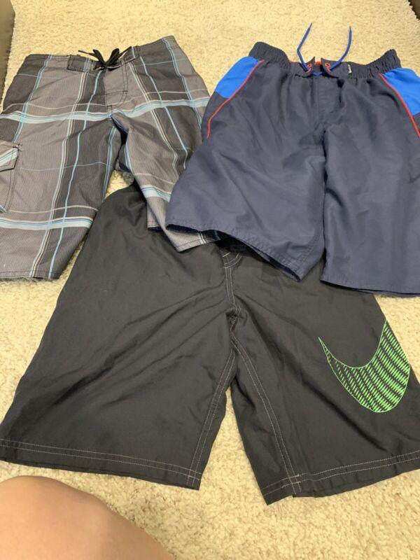 Lot Of Large Swim Trunks 12/14 L Boys Nike, Speedo, Laguna