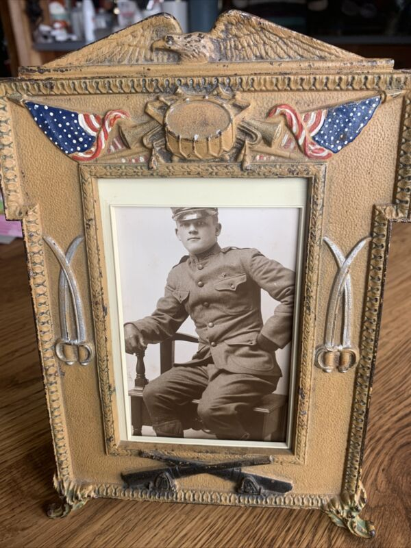 rare Spanish American War Cabinet Photo Heavy Brass Frame Civil American Early