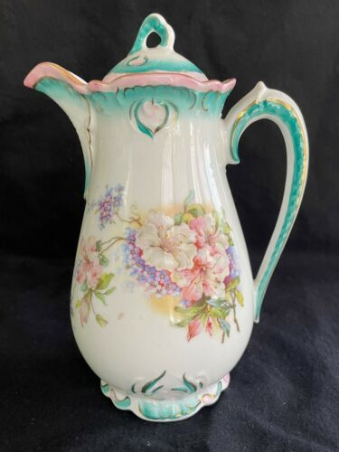 Antique Hand Painted 4-Cup White Chocolate Pot  Turquoise Accents Pink Flowers