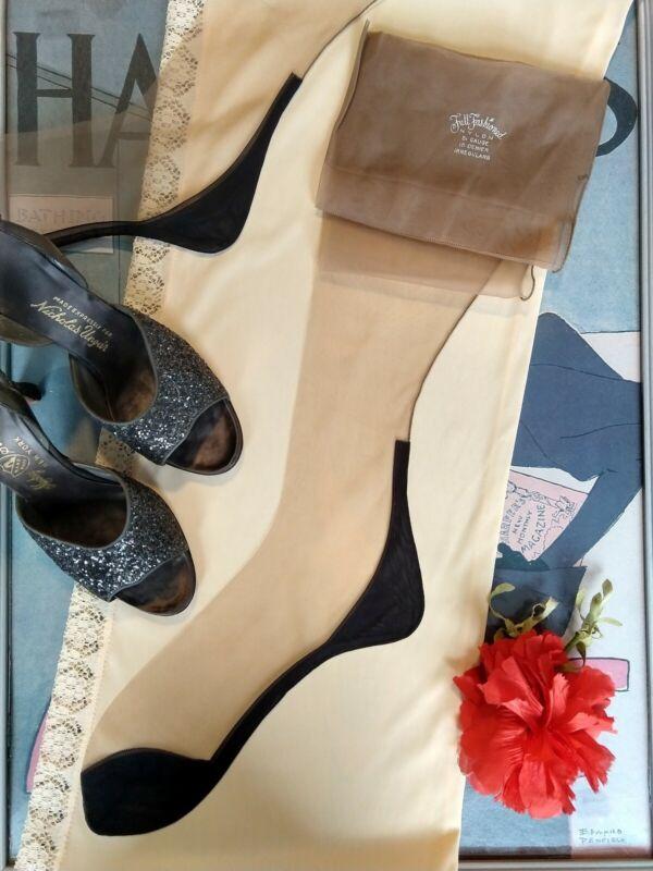 "vintage nylon stockings 2 prs box - 15 den dark seams and black sole - 10.5 33"""