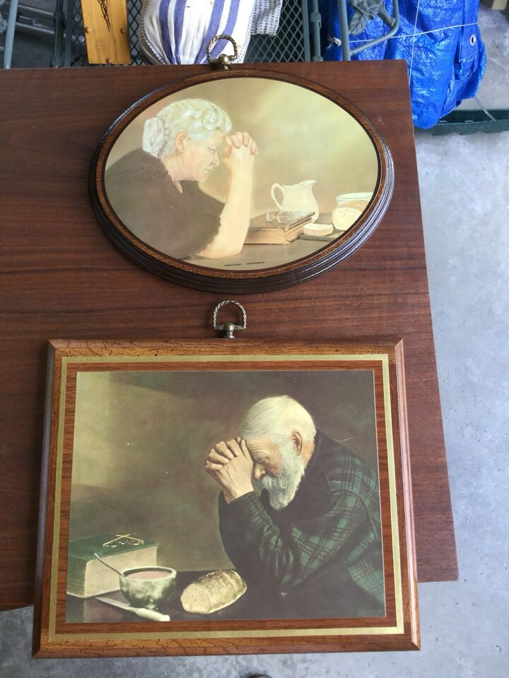 Old Man And Old Lady Praying Over Bread Artwork Reproduction Arts