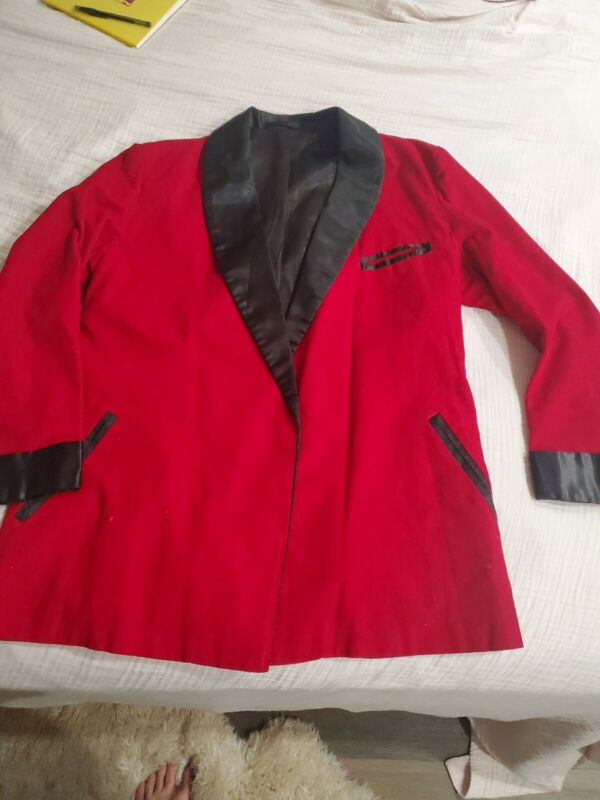 Vintage Roytex 50's Red Corduroy Smoking Jacket Robe-XL44 46 Hughe Hefner style