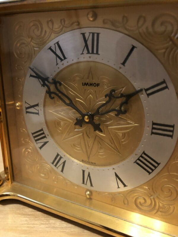 Bucherer IMHOF 8 Day Table Clock Swiss Made 1960s Running