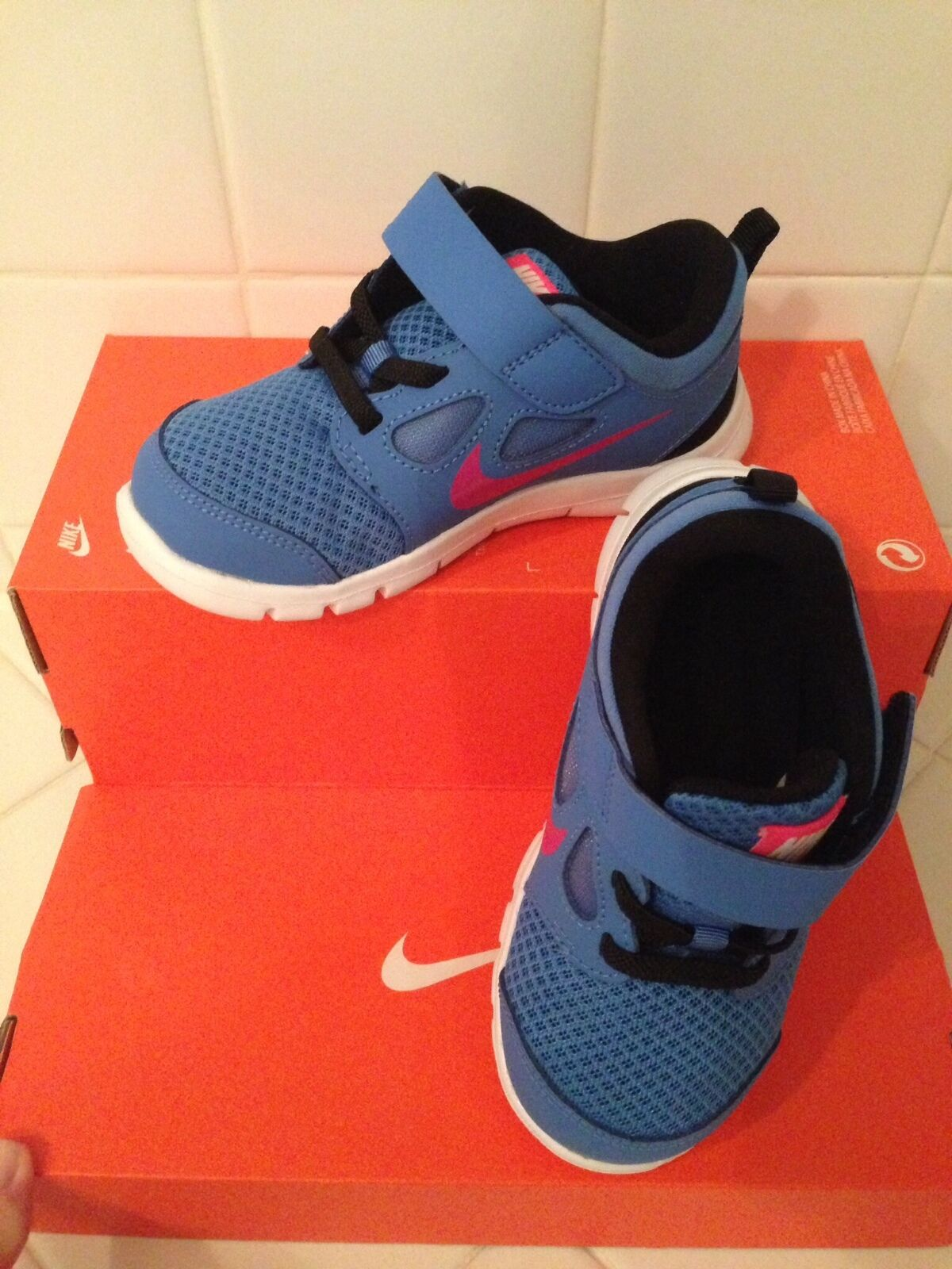 NEW NIKE BABY FREE 5 (TDV) TODDLERS [580595-400] DISTANCE BLUE//PINK FL    1