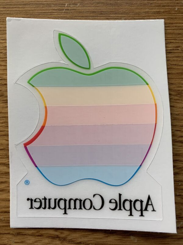 Vintage APPLE Computer Rainbow Logo Window Cling Decal NEW Mac Collectible!