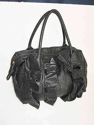 Daisy Fuentes Black Faux Leather Ruffle Bag Double Strap Medium Size for sale  Saluda